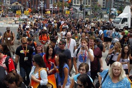 A view of the massive crowds at Comic-Con.